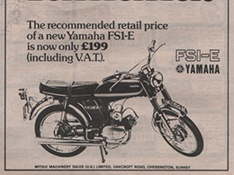 1974 YAMAHA FS1 E POPSICLE PURPLE 394   BLACK & WHITE MAGAZINE ADVERT
